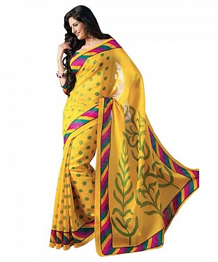 YELLOW PRINTED BHAGALPURI SAREE @ Rs679.00