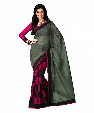 PINK & GREY PRINTED BHAGALPURI SAREE @ Rs679.00