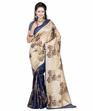 NAVY BLUE & CREAM PRINTED BHAGALPURI SAREE @ Rs679.00