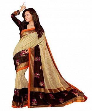 BROWN & CREAM PRINTED BHAGALPURI SAREE @ Rs679.00