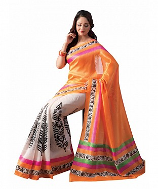 ORANGE & OFF WHITE PRINTED BHAGALPURI SAREE @ Rs679.00