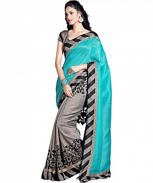 SKY AND GREY PRINTED BHAGALPURI SAREE @ Rs679.00
