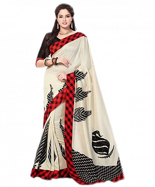 CREAM PRINTED BHAGALPURI SAREE @ Rs679.00