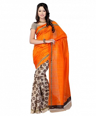 ORANGE & PEACH PRINTED BHAGALPURI SAREE @ Rs679.00