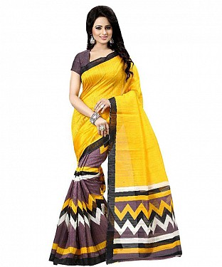 YELLOW & BROWN PRINTED BHAGALPURI SAREE @ Rs679.00