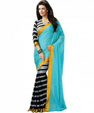 SKY & BLACK PRINTED BHAGALPURI SAREE @ Rs679.00