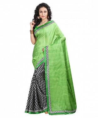 OLIVE GREEN & BLACK PRINTED BHAGALPURI SAREE @ Rs679.00