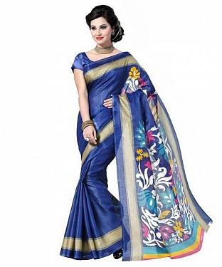BLUE PRINTED BHAGALPURI SAREE @ Rs679.00