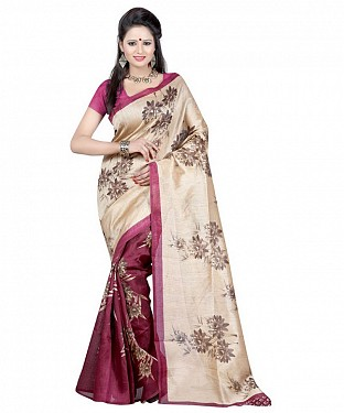 MAROON & CREAM PRINTED BHAGALPURI SAREE @ Rs679.00