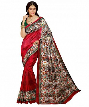 RED & MULTY PRINTED BHAGALPURI SAREE @ Rs679.00