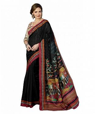 BLACK PRINTED BHAGALPURI SAREE @ Rs679.00