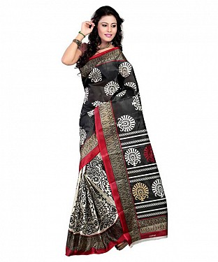 BLACK & WHITE PRINTED BHAGALPURI SAREE @ Rs679.00