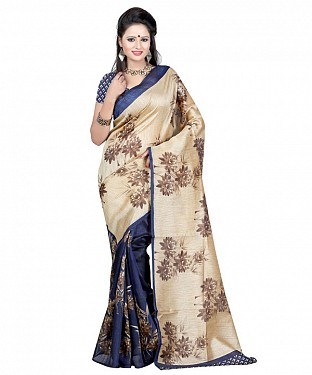 CREAM & NAVY BLUE PRINTED BHAGALPURI SAREE @ Rs679.00