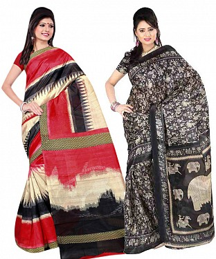 COMBO ONE MULTI PRINTED SAREE AND BLACK & WHITE PRINTED SAREE @ Rs926.00