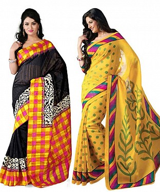 COMBO ONE MULTI PRINTED SAREE AND YELLOW PRINTED SAREE @ Rs926.00