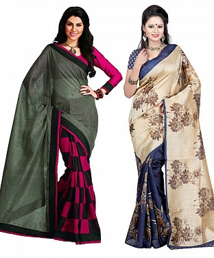 COMBO ONE PINK & GREY PRINTED SAREE AND BLUE & CREAM PRINTED SAREE @ Rs926.00