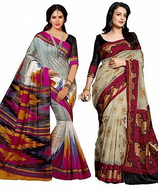 COMBO ONE MULTY PRINTED SAREE AND MAROON & CREAM PRINTED SAREE @ Rs926.00
