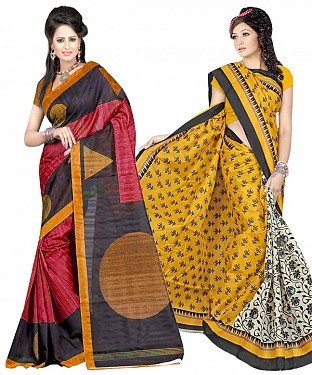 COMBO ONE MULTY & OFF WHITE PRINTED SAREE AND YELLOW & OFF WHITE PRINTED SAREE @ Rs926.00