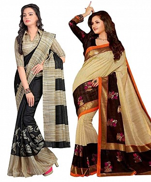 COMBO ONE BLACK & CREAM PRINTED SAREE AND BROWN & CREAM PRINTED SAREE @ Rs926.00