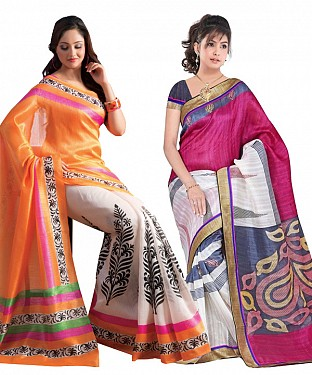 COMBO ONE ORANGE & OFF WHITE PRINTED SAREE AND MULTY PRINTED SAREE @ Rs926.00