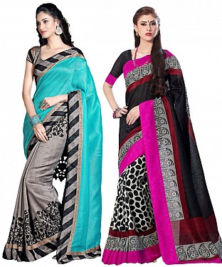 COMBO ONE SKY & GREY PRINTED SAREE AND MULTY PRINTED SAREE @ Rs926.00