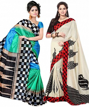 COMBO ONE MULTI PRINTED SAREE AND CREAM PRINTED SAREE @ Rs926.00