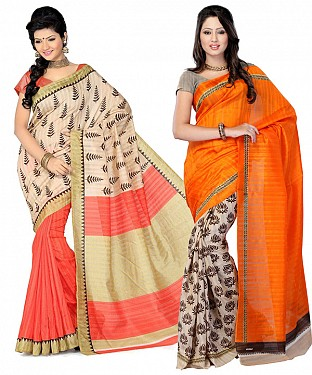 COMBO ONE CREAM PRINTED SAREE AND ORANGE & PEACH PRINTED SAREE @ Rs926.00