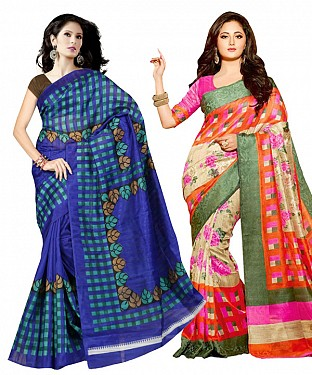 COMBO ONE BLUE PRINTED SAREE AND MULTY PRINTED SAREE @ Rs926.00