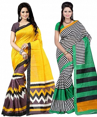 COMBO ONE YELLOW & BROWN PRINTED SAREE AND MULTY PRINTED SAREE @ Rs926.00