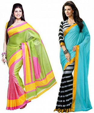 COMBO ONE MULTY PRINTED SAREE AND SKY & BLACK PRINTED SAREE @ Rs926.00