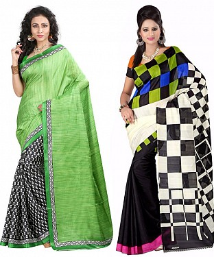 COMBO ONE OLIVE GREEN & BLACK PRINTED SAREE AND MULTY PRINTED SAREE @ Rs926.00