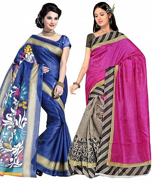 COMBO ONE BLUE PRINTED SAREE AND PINK & GREY PRINTED SAREE @ Rs926.00