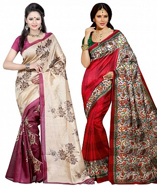COMBO ONE MAROON & CREAM PRINTED SAREE AND RED & MULTY PRINTED SAREE @ Rs926.00