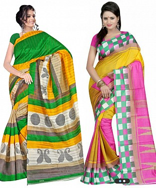 COMBO ONE MULTY PRINTED SAREE AND MULTY PRINTED SAREE @ Rs926.00