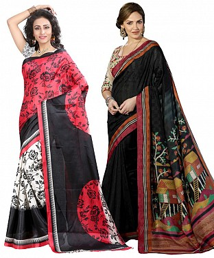 COMBO ONE MULTY PRINTED SAREE AND BLACK PRINTED SAREE @ Rs926.00