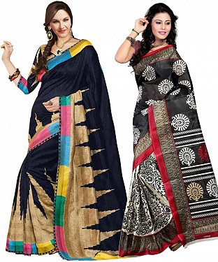 COMBO ONE MULTY PRINTED SAREE AND BLACK & WHITE PRINTED SAREE @ Rs926.00