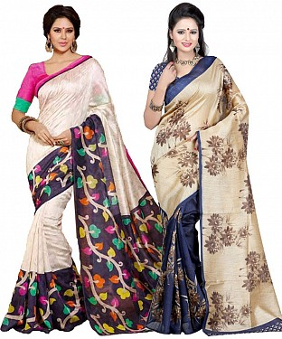 COMBO ONE MULTY PRINTED SAREE AND CREAM & NAVY BLUE PRINTED SAREE @ Rs926.00
