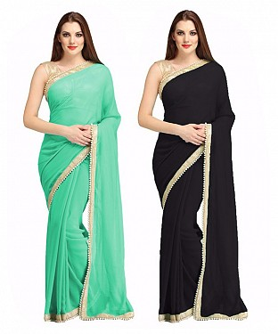 COMBO ONE AQUA PLAIN SAREE AND BLACK PLAIN SAREE @ Rs1112.00