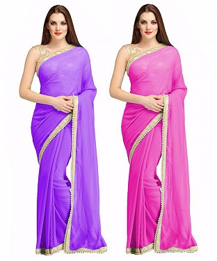 COMBO ONE PURPLE PLAIN SAREE AND PINK PLAIN SAREE @ Rs1112.00
