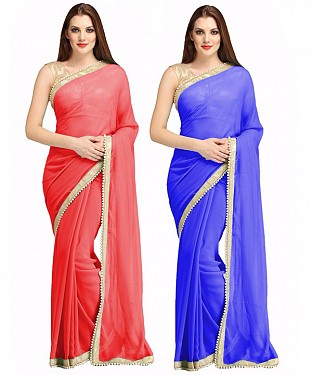 COMBO ONE RED PLAIN SAREE AND BLUE PLAIN SAREE @ Rs1112.00