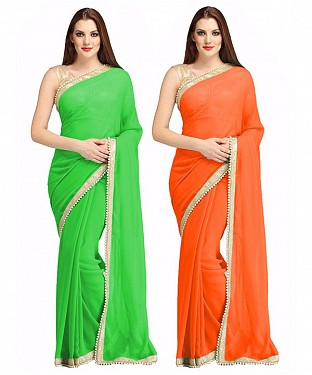 COMBO ONE GREEN PLAIN SAREE AND ORANGE PLAIN SAREE @ Rs1112.00