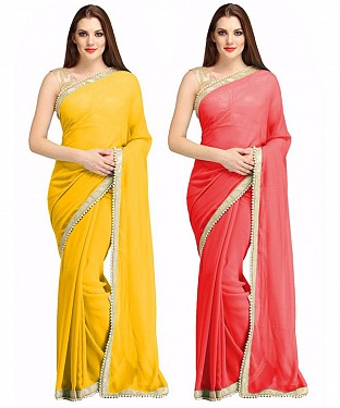 COMBO ONE YELLOW PLAIN SAREE AND RED PLAIN SAREE @ Rs1112.00