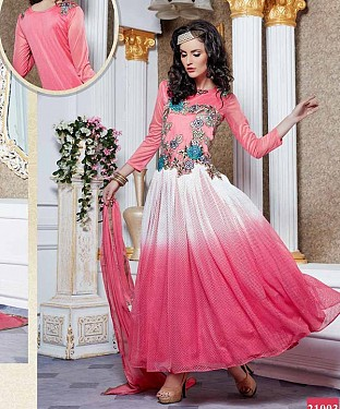 LATEST DESIGNER HEAVY PINK PARTYWEAR GOWN @ Rs1668.00