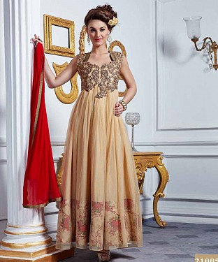 LATEST DESIGNER HEAVY CREAM PARTYWEAR GOWN @ Rs1668.00