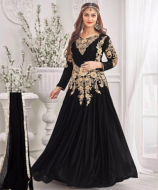 LATEST DESIGNER HEAVY BLACK PARTYWEAR GOWN @ Rs2100.00