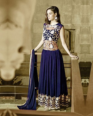 NAVY BLUE GEORGETTE PARTYWEAR GOWN@ Rs.1544.00