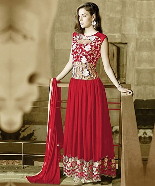 RED GEORGETTE PARTYWEAR GOWN @ Rs1544.00