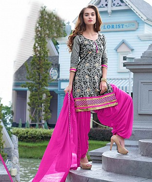EMBROIDERED BEIGE AND PINK PATIYALA STYLE SALWAR KAMEEZ @ Rs1482.00