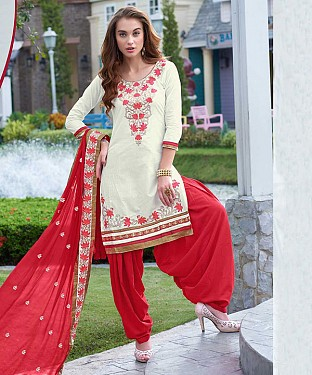 EMBROIDERED WHITE AND RED PATIYALA STYLE SALWAR KAMEEZ @ Rs1482.00