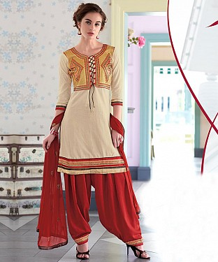 EMBROIDERED CREAM AND MAROON PATIYALA STYLE SALWAR KAMEEZ @ Rs1482.00